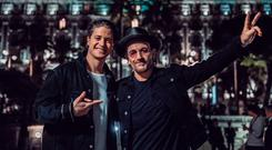Bono with Norweigian DJ Kygo who released a mix of U2's You're The Best Thing about Me last year