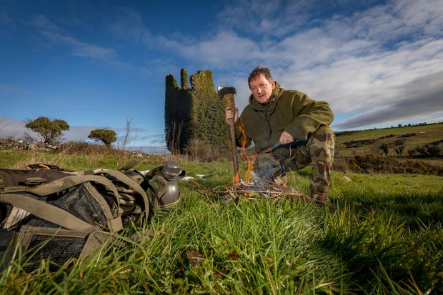 Be prepared: Survivalist Frank Deegan pictured near his at home in Co Kilkenny Picture Dylan Vaughan