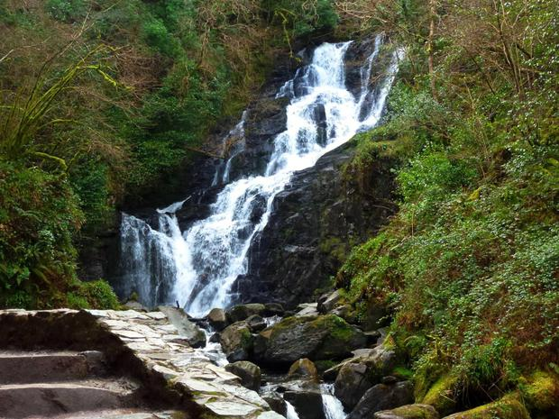 The sparkling waters of the Torc Waterfall in Killarney