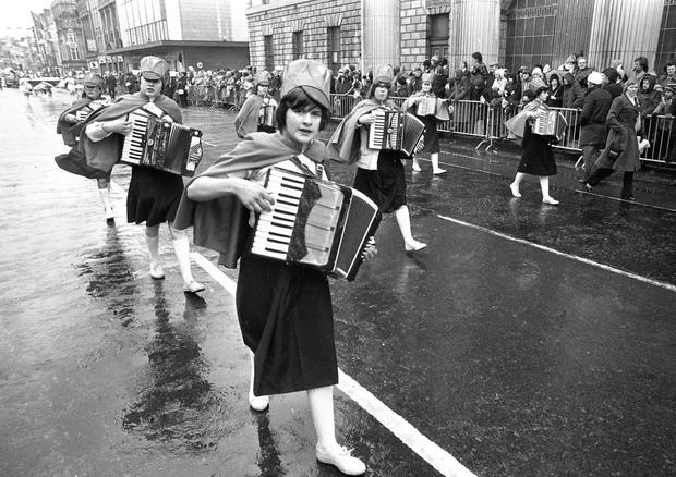 Playing along: The Paddy's Day parade arrives at O'Connell Street in 1979. (Part of the Independent Newspapers Ireland/NLI Collection)
