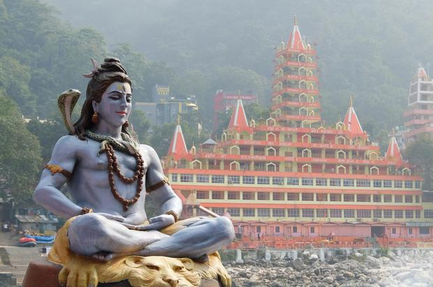 A statue of Shiva on the banks of the Ganges in Rishikesh