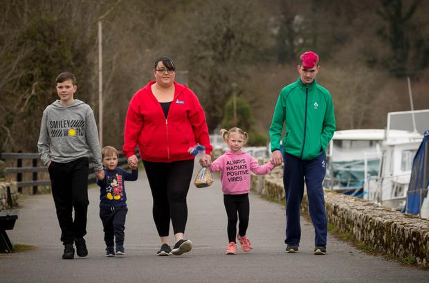 Linda Comerford pictured with her kids from left Darragh (11), Frankie (2), Shauna (4) and Michael (16) in Graiguenamanagh Co Kilkenny. Photo: Dylan Vaughan
