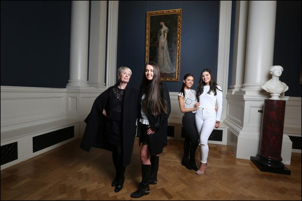 Constance Cassidy with her daughters Constance, Jane and Kate in front of Kasimir Dunin Markievicz's 'The Artist's Wife, Constance, Comtesse de Markievicz' in the National Gallery of Ireland. Photo: David Conachy