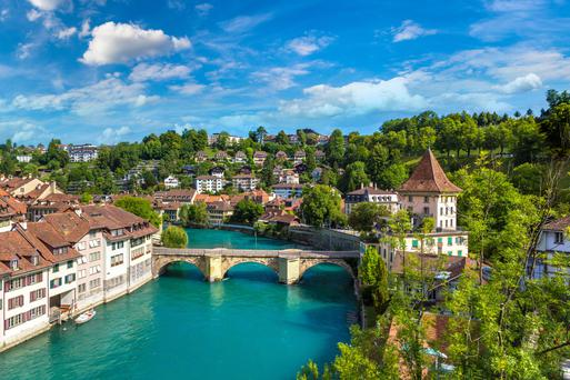 Bern, the capital of Switzerland, is built on the Aare Rive