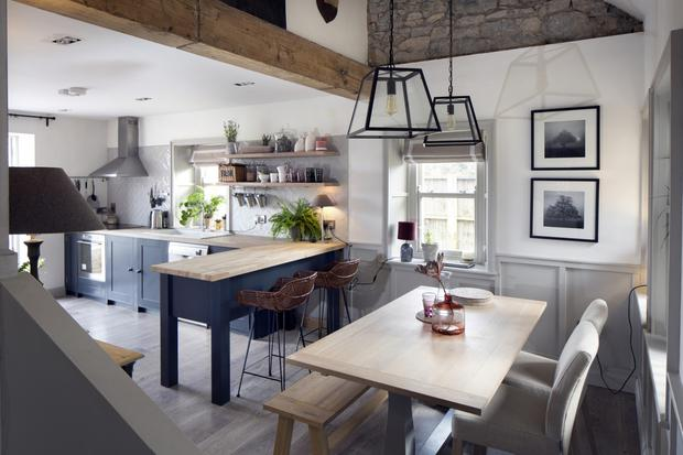 Cathal raised the ceiling, making the new kitchen a light-filled space. The units are all from Neptune