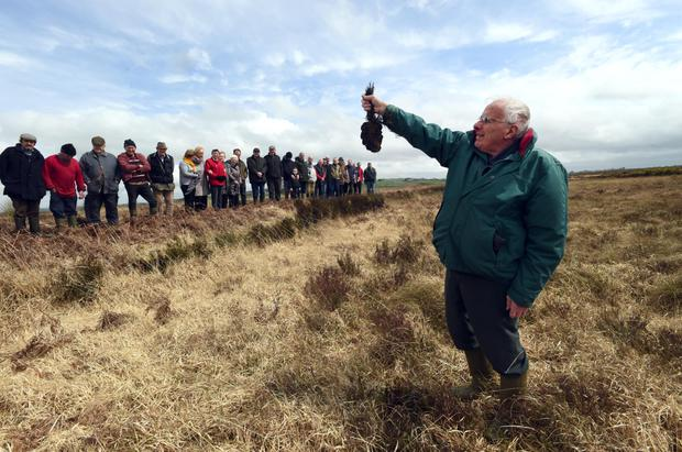 Sod's law: Mick Looney with fellow turf cutters in Moanveanlagh Bog, about 6km from Listowel in Co Kerry. Photo: Don MacMonagle