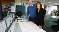 Nerve centre: Head of forecasting Evelyn Cusack with Eoin Sherlock, who helped devise a new weather app for Met Éireann, at the meteorological service's HQ in Glasnevin, Dublin. Photo: Frank Mc Grath