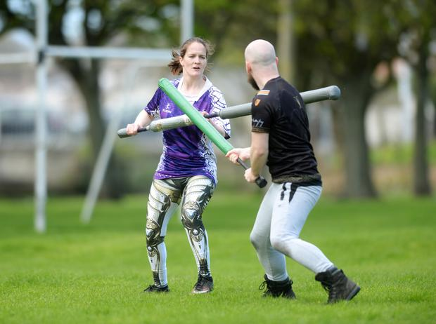 Sarah Bevan takes part in training for jugger. Photo: Caroline Quinn