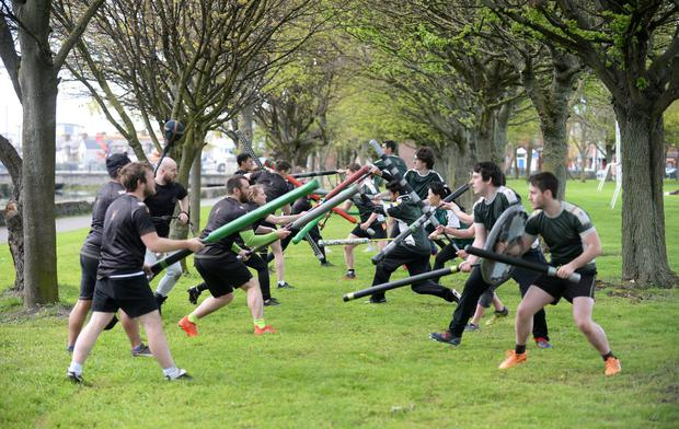 Members of the Rampage Jugger club and Setanta Jugger club take part in training at Fairview park, Dublin. Picture: Caroline Quinn