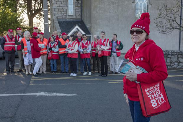 Save the 8th: Elizabeth Twomey with Campaigners for the No Vote in the upcoming referendum on the 8th Amendment, canvassing in Dalkey. Picture:Arthur Carron