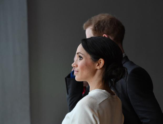 Adding the sparkle: Meghan Markle and Prince Harry during a visit to Titanic Belfast in March