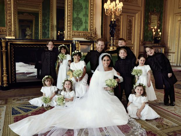 Meghan Markle, Prince Harry and some of the wedding party.