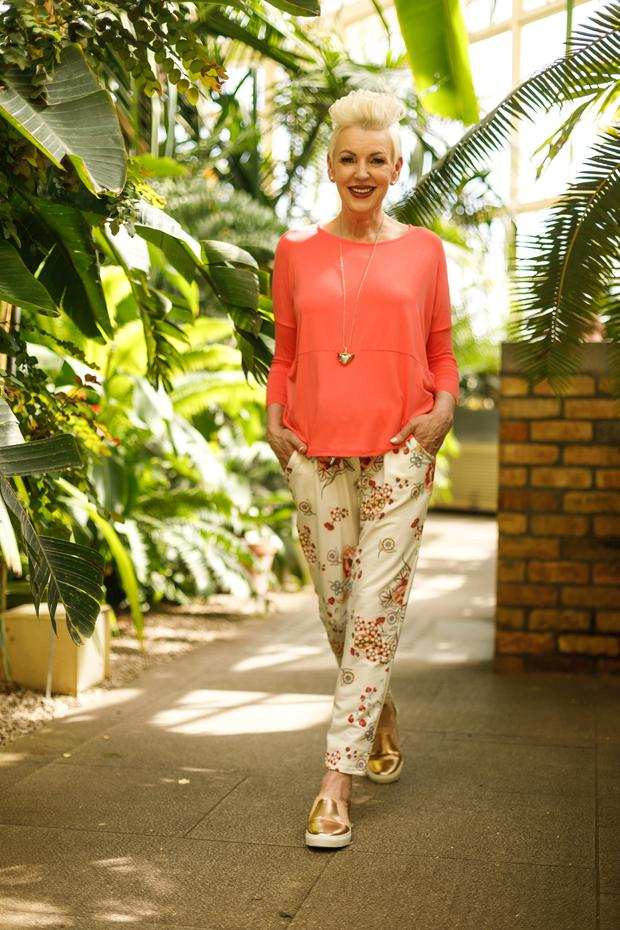 Top, €35; cotton trousers, €39; necklace, €32, all Golden Spiderweb. Shoes, €37, River island