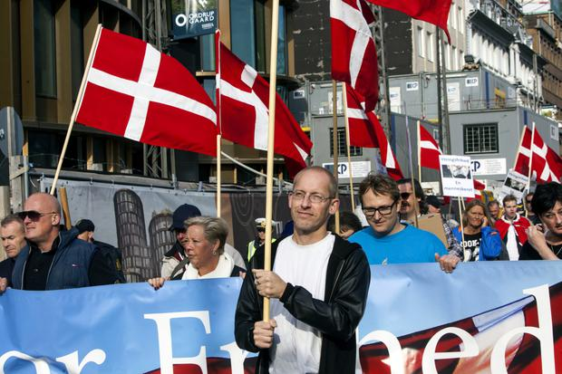Xenophobic tone: A protest march organised by For Freedom (For Frihed) against Muslim immigration winds its way through Copenhagen. Photo: Ole Jensen/Corbis via Getty images