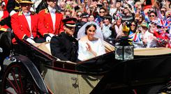 Meghan eaving St George's Chapel, Windsor with husband Prince Harry