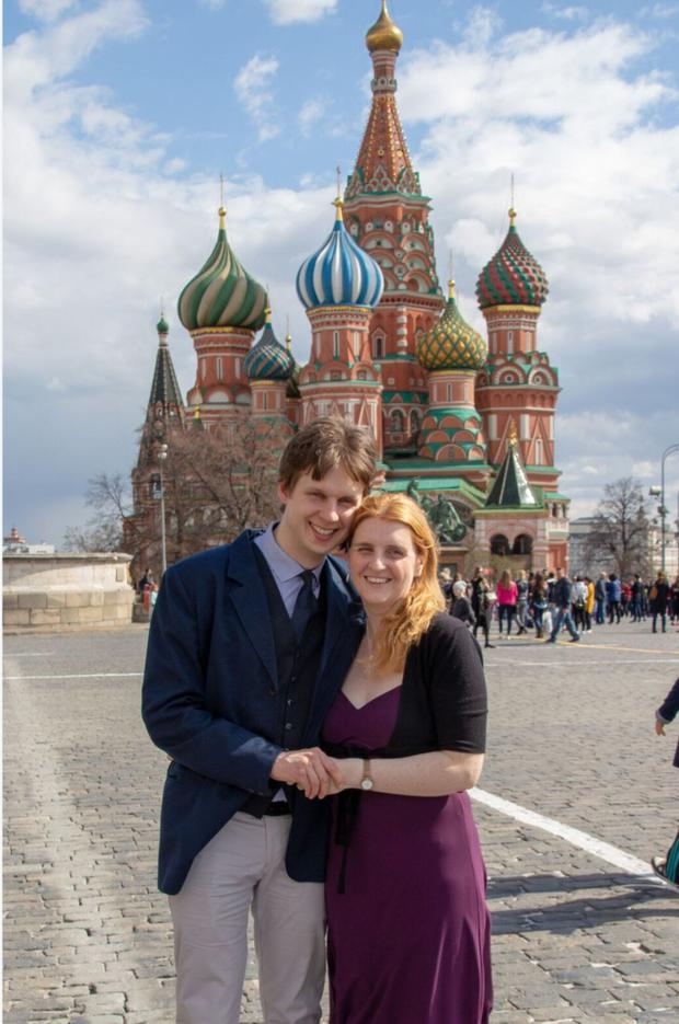 Security: Deirdre Waldon, in Red Square with husband Kesha, says Moscow is heavily policed