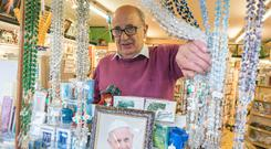 Francis fever: Tom Byrne who runs a gift shop in Knock, is expecting brisk business for the papal visit. Photo: Keith Heneghan