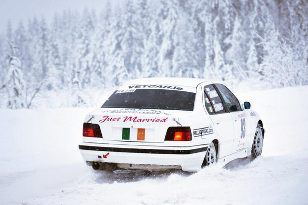 'Just married' on the back of Matt and Catherine's rally car for the race in Finland