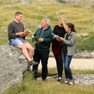 Cúpla focal: Rankin Sherling, Dessie Scullion, Emily Murphy and Aria Strauss are immersing themselves in Irish in Donegal. Photo: Gerry Mooney