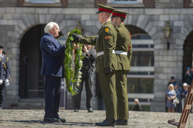 The President marking Ireland's 60th anniversary of involvement with UN Peacekeeping. Photo: Douglas O'Connor