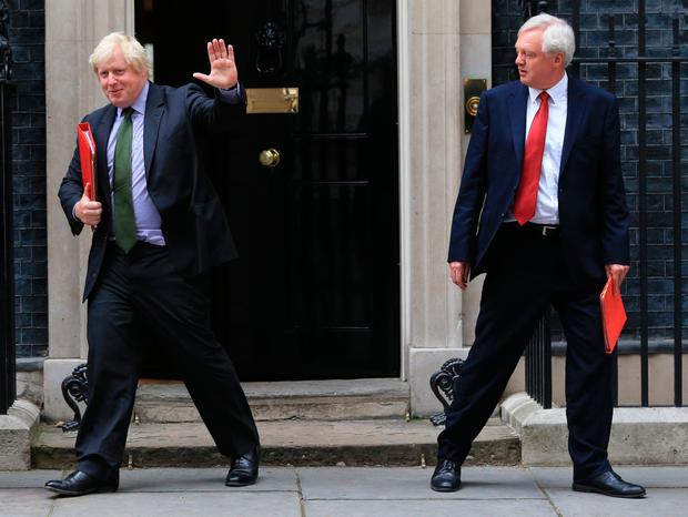 Joining the Eurosceptic backbenchers: Boris Johnson and David Davis have both left Theresa May's cabinet. Photo: Gareth Fuller
