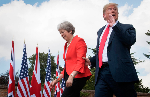 Fingers in the eyes: Trump meets UK prime minister Theresa May