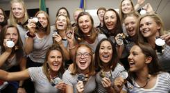 New dawn: The women's hockey team show their silver medals at Dublin Airport. Photo: Damien Eagers