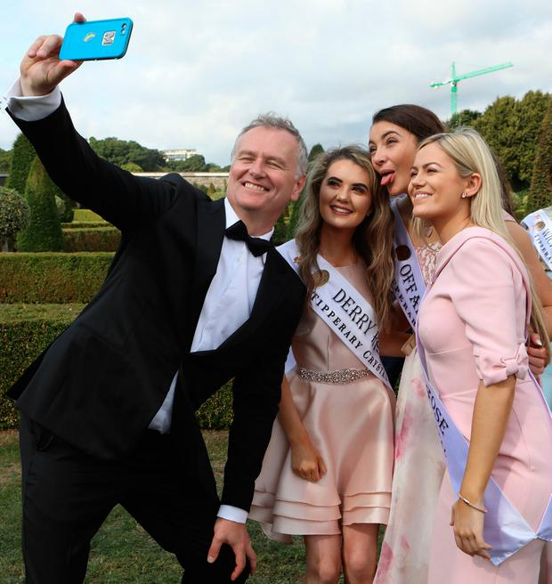 Hot stuff: Dáithí Ó Sé (left) lost weight for the Rose of Tralee wearing a sauna suit. Photo: Paddy Cummins/CollinsPhotoAgency