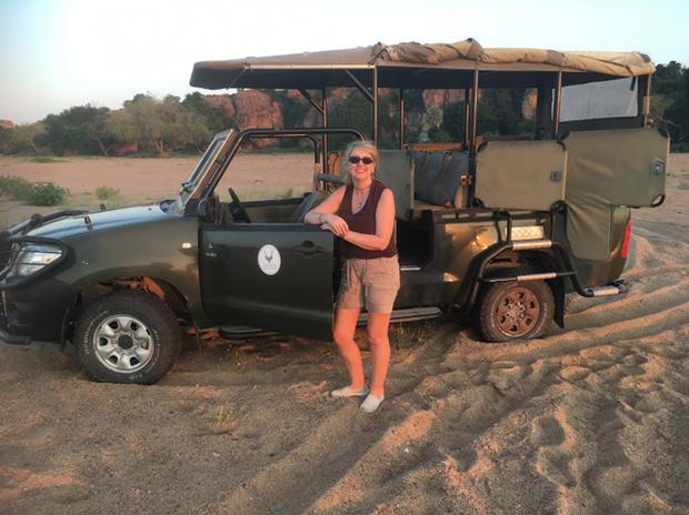 Michelle and the jeep at the confluence of Zimbabwe, Botswana and South Africa