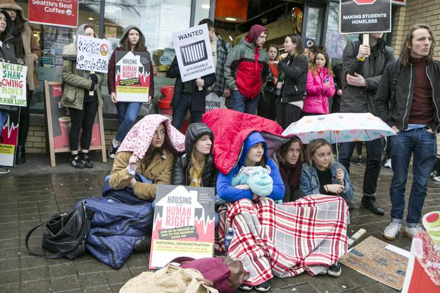 DCU students protest on Shanowen Road. Pictures: Kyran O'Brien