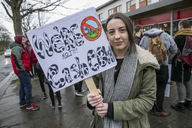 What do we want? Tipperary student Lauren Rossiter (left) at the DCU students protest on Shanowen Road. Photo: Kyran O'Brien