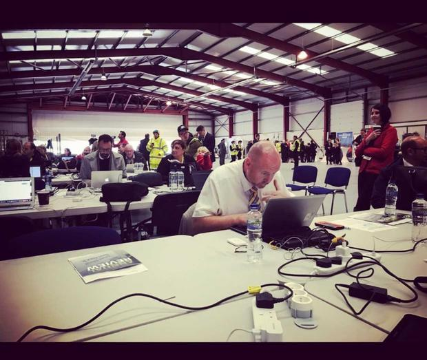 Ralph Riegel in the press centre at Croke Park during Pope Francis's Irish visit.