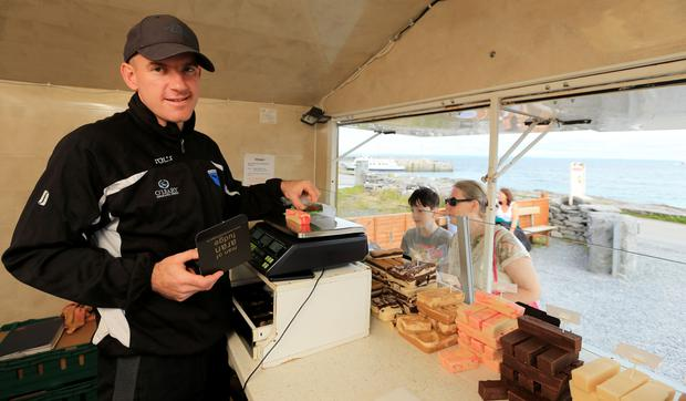 Sweet treats: Eoghan Póil has sold Man of Aran fudge from a cabin next to the pier since 2013. Photo: Gerry Mooney