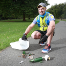 Ash Senyk is a keen plogger who picks up rubbish while jogging in the Phoenix Park. Photo: Frank McGrath