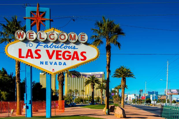 The famous 'Welcome to fabulous Las Vegas' sign is located just to the south of the Las Vegas strip