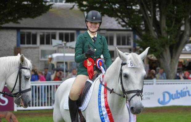 Isabelle Nally on Benny Liath in the Irish team that won the International Connemara Performance class in the RDS horse show last summer