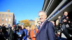 A day in the sun: Peter Casey heads into Dublin Castle for the election count last Saturday. Photo: Gerry Mooney