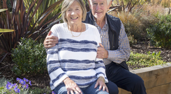 Kallie and husband Tony in the dementia garden at the centre. Pic: Tony Gavin