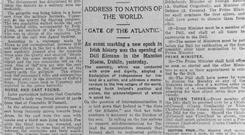 The Irish Independent report on the opening of Dáil Éireann in 1919.