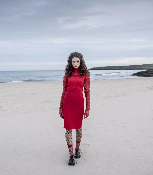 Dress, €589, Tricotine, Design Centre. Jumper (worn underneath), €24, Marks & Spencer. Shoes, €129, & Other Stories. Net (for veil), €16.50 per metre, Studio 54. Sleeve-gloves, €1,200, Paula Rowan. Fishnet anklesocks, €5,Topshop. Tights, €35, Wolford, Brown Thomas