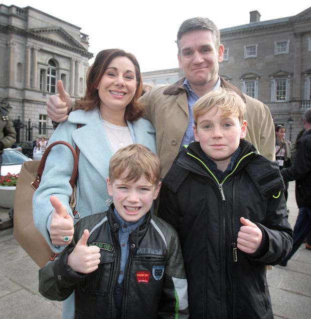 Proud family: Josepha with her husband Finbarr Hayes and their children, Daniel (12) and Luke (10), on the first day of the Dáil at Leinster House in 2016