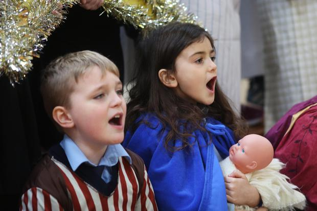 Children at Scoil Naomh Fionán perform a nativity-themed show. Photo: Lorcan Doherty
