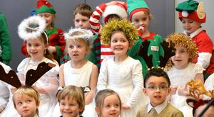 The Christmas play for the junior classes at Gaelscoil Shliabh Rua is all about a bit of fun, whereas the older classes incorporate a more global aspect with a genie bringing them to different countries in search of Santa. Photo: Justin Farrelly