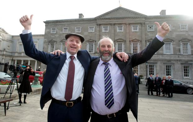 Michael Healy-Rae pictured outside the Dáil with his brother Danny