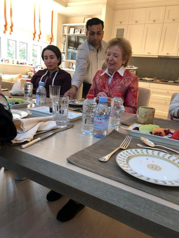 Concern: Princess Latifa looks on during her recent lunch with Mary Robinson