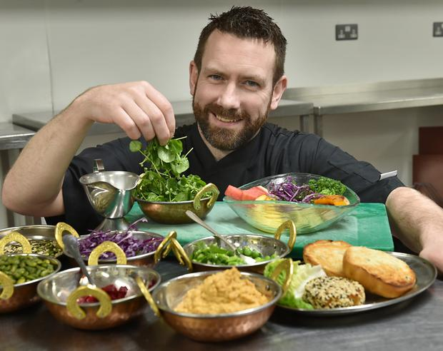 Chef Chad Byrne prepares a vegan meal at The Brehon hotel in Killarney. Photo: Don MacMonagle