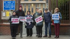 Picket: abortion protesters including Charles Byrne, second left, outside Our Lady of Lourdes Hospital. Picture by Ciara Wilkinson