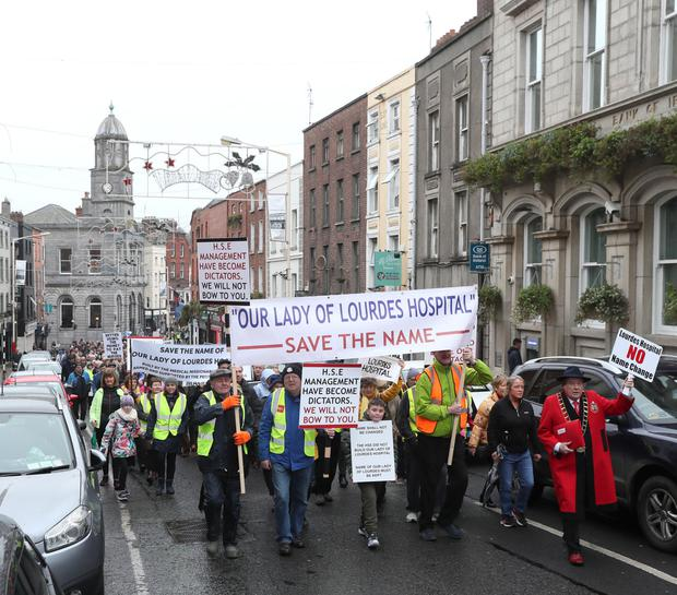 The long march: protesters take to the streets of Drogheda to save the name of Our Lady of Lourdes Hospital. Picture by Paul Connor
