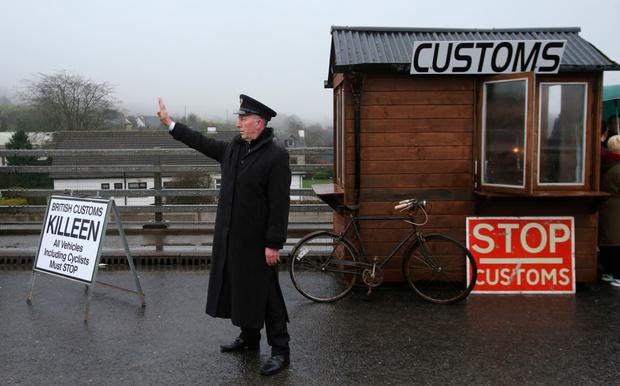 No passing: a mock customs post set up at Ravensdale, Co Louth as anti-Brexit campaigners hold a go-slow protest across the Border. Photo by Niall Carson