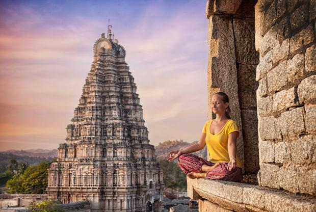 Meditating in Hampi - an ancient village in the south Indian state of Karnataka